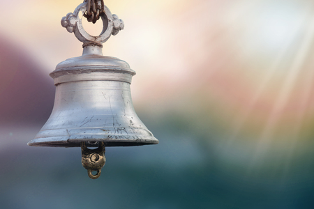 close up of Temple Bell On Sunset Background.