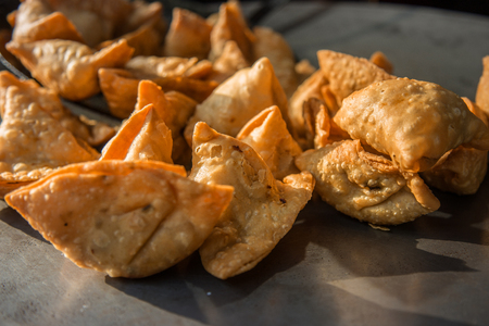 Close up of Fresh Samosas in the street Stock Photo