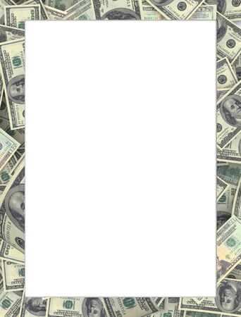 Frame made of Dollar 100 banknotes. Much white space for copy you can add your message inside.