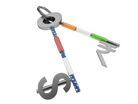 Dollar and Indian currency sign key with US and Indian flag texture on it. High quality sharp 3d rendering