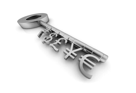 Currency Symbol Keys, 3D Graphics of a Bunch of Keys with Different Currency Symbol Stockfoto