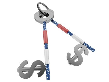 Dollar sign key with US flag texture. High quality sharp 3d rendering Imagens
