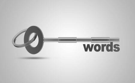 Keywords concept, High resolution sharp 3d rendering