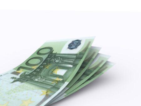 100 Euro bill on white background. High resolution, sharp 3D rendering. 写真素材