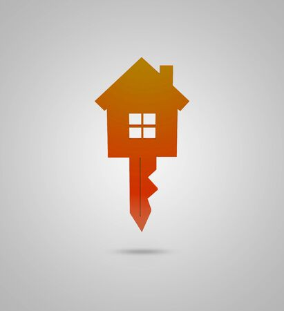 Real estate 3d concept with orange key and 3d house combined.
