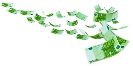 Fliegender Euro sowohl von vorne als auch von hinten wie echte Banknote, isoliert auf weißem Hintergrund. Hochauflösendes, scharfes 3D-Rendering