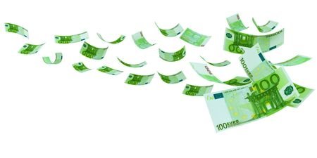 Flying Euro both from front and back like real Banknote, isolated on white background. High resolution, sharp 3D rendering