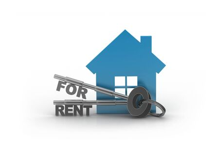 House for rent with keys isolated on  background with