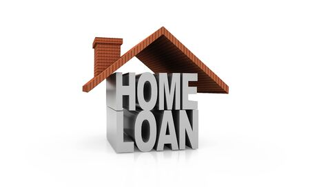 Home loan. Roof on the HOME LOAN letters. High quality sharp 3D rendering