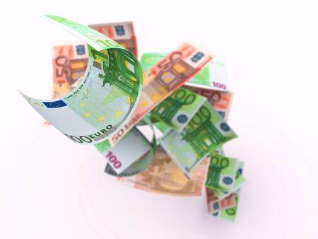 Hundred Euro bills on top of money pile. Shallow depth of field. High resolution, sharp 3D rendering.