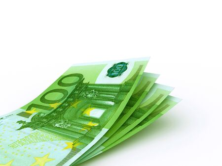 100 Euro bill on white background. High resolution, sharp 3D rendering. Imagens
