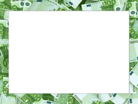 Frame made of 100 and 50 Euro banknotes. Much white space for copy - you can add your message inside. Imagens