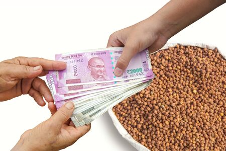 Farmer Selling Crops, Hand Giving Indian 500 and 2000 Rupee Bank Notes over bag, burlap full of black garbanzo , black chickpea , black chana.