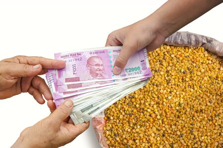 Hand Giving Indian 500 and 2000 Rupee Bank Notes over bag full of chickpeas, Yellow Chana Split Peas, Dried Chickpea Lentils or Toor Dal.
