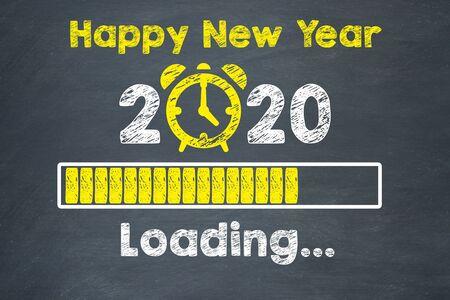 Horloge de compte à rebours des concepts du nouvel an 2020 sur le tableau noir Banque d'images