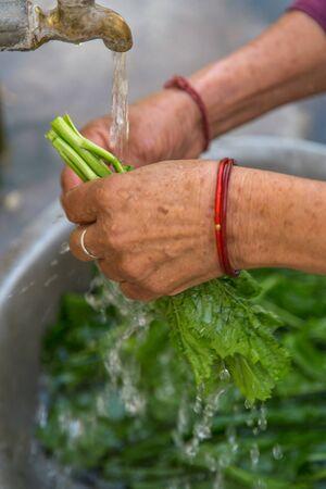 Women washing vegetable under tap water outside.