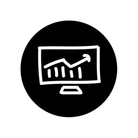 Analytic Progress Icon Hand Drawn Vektoros illusztráció