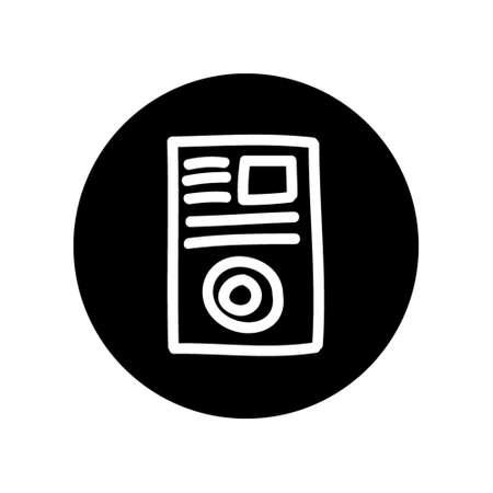 記事のマーケティング コンセプト アイコン、サークル黒背景で隔離のアウトラインを白図  イラスト・ベクター素材
