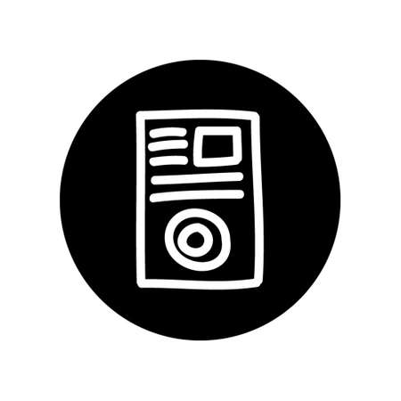White outline illustration of Article Marketing concept Icon, isolated on circle black background