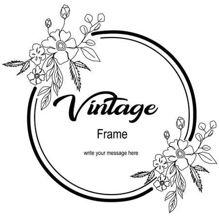 Frame flower hand drawn template Ilustração