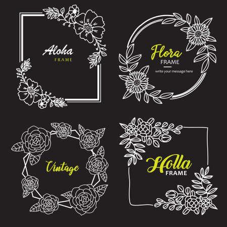 Frame Hand Drawn Flower Template Vector Illustration