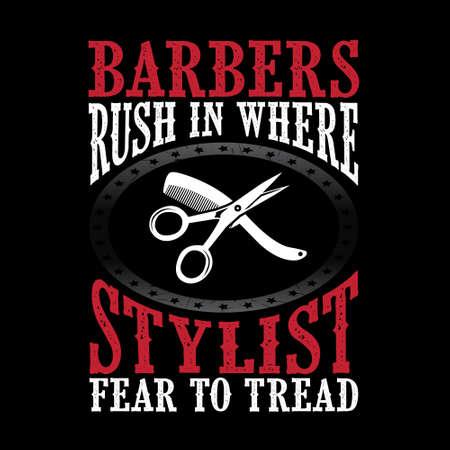Barbers rush in where stylist Stock Photo
