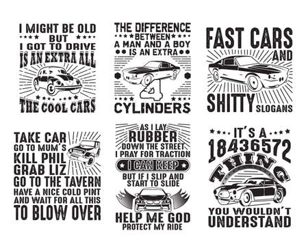 Car Quote and Saying Set Bundle Stock Photo