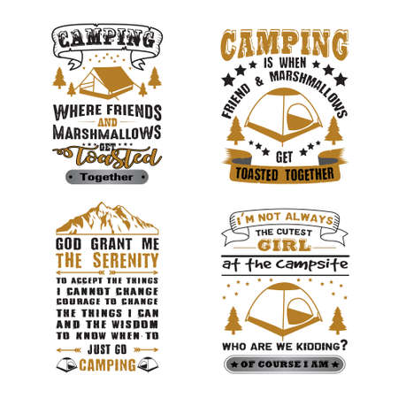 Camping Quote and Saying Set Stok Fotoğraf