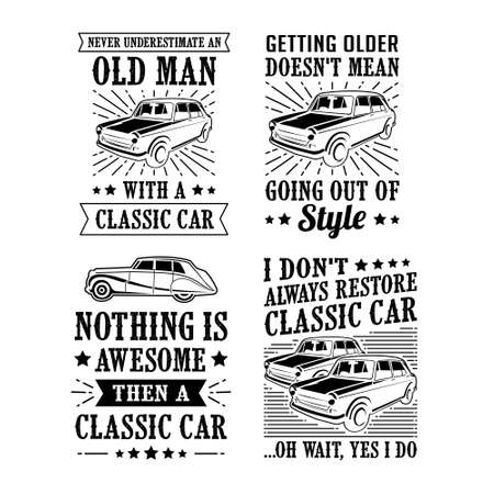 Car Quote Saying Set, vector best for print design like t-shirt, mug, frame and other Archivio Fotografico - 125294931