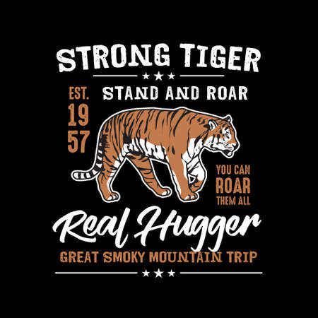 Event T Shirt Club Template, Strong Tiger Adventure Event T shirt. Ilustrace