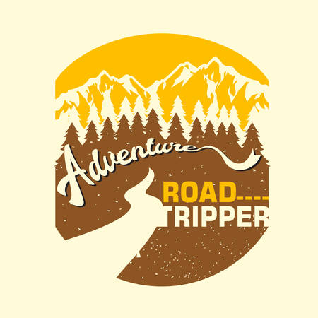 Vintage Adventure Road Tripper Mountain illustration, outdoor adventure . Vector graphic design for t shirt and other uses.