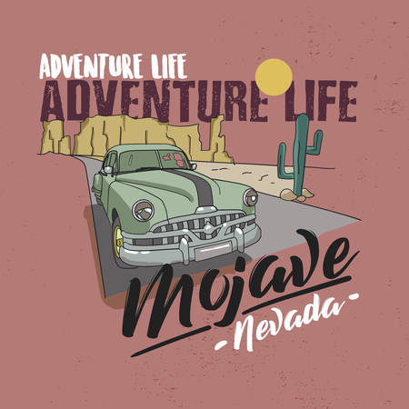 Desert vibes and cactus with slogan western road tripper. t-shirt design, print, typography, label with styled saguaro cactus and rocks. Adventure Life Mojave Nevada. Zdjęcie Seryjne - 129793117