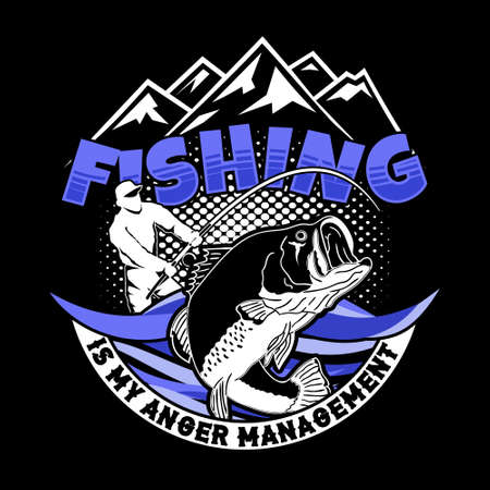 Fishing is My Anger Management. fishing quote good for t-shirt Stok Fotoğraf - 129793123