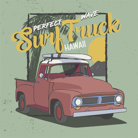 Perfect Wave Surf Truck Hawaii, Slogan design for T-Shirt, Poster and all print graphic. Palm sunset and rock mountain view for the background.