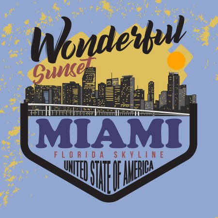 Wonderful Sunset Miami Florida Skyline United State of America Slogan. good for T shirt Graphic. Illustration Vector. Фото со стока - 129793125