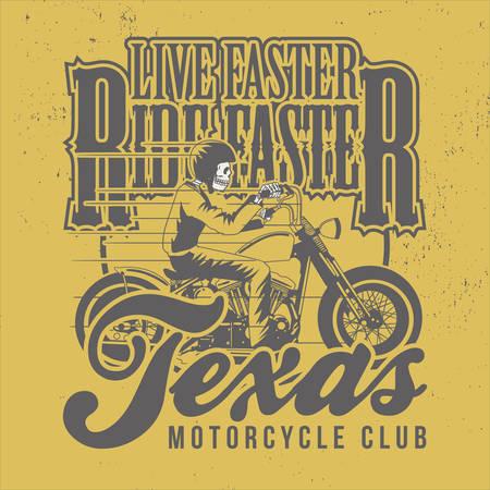 Live Faster Ride Faster, Slogan for T-shirt Design. Texas Motorcycle Club. Skull Head Rider. Illusztráció