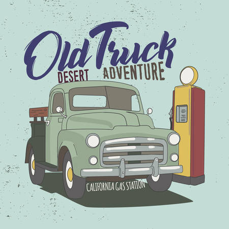 Old Truck Desert adventure Slogan, good for Tee Graphic.  イラスト・ベクター素材