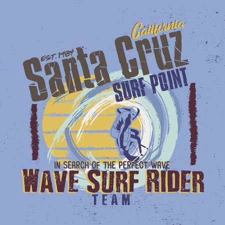 In search of the perfect wave. Santa Cruz California, Surf Point. Wave Surf Rider Team. Graphic for T-shirt
