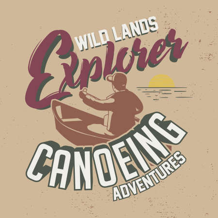 Wild Lands Explorer Canoeing Adventures Slogan. Graphic for T-shirt Print.