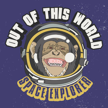 Out of this world Slogan for T-shirt Design. Monkey Astronaut Illustration, Space Explorer.