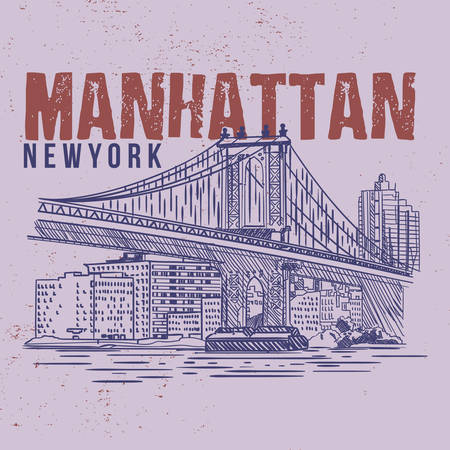 Manhattan New York. llustration drawing city graphic. Tee graphic design