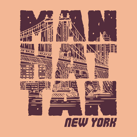 Manhattan New york Slogan good for T shirt Graphic. Typography Design. 写真素材 - 129793480