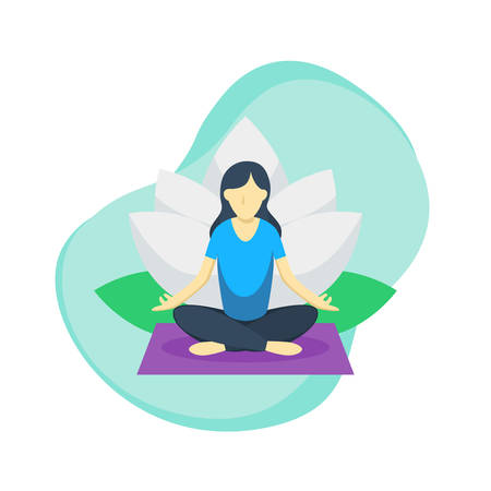 Women do Yoga pose with Lotus Flower in the back. Good for your site, Landing page, and other. Vector concept illustration Ilustração