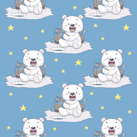 Snow Bear Fishing in the Ice. Seamless Pattern Vector Illustration  イラスト・ベクター素材