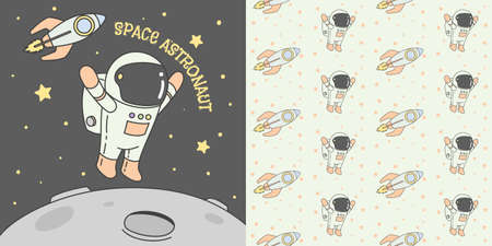 Astronaut, Space, In the Sky. Seamless Pattern vector illustration, ready for print
