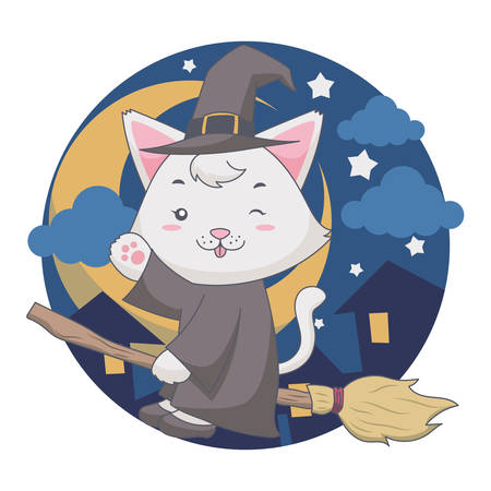 The flying wizard White cat uses a broom in the night. Vector illustration