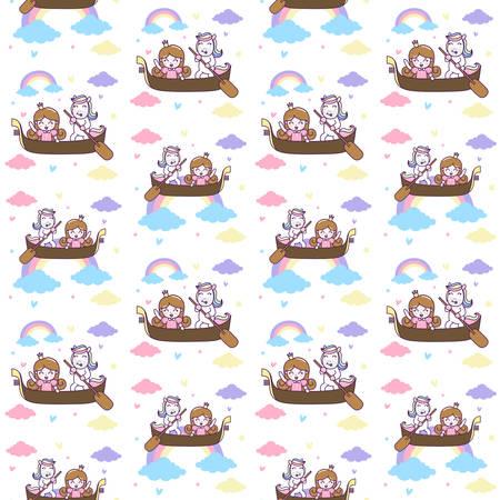 Cute Unicorn and Princess ride a boat seamless pattern. Vector Illustration.