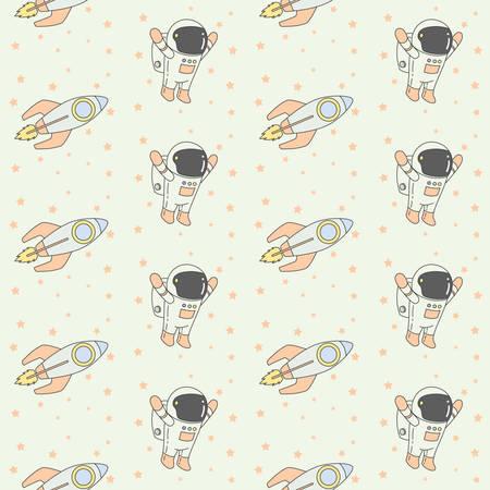Astronaut Rocket Seamless Pattern Illustration. Vector Illustration, ready for print