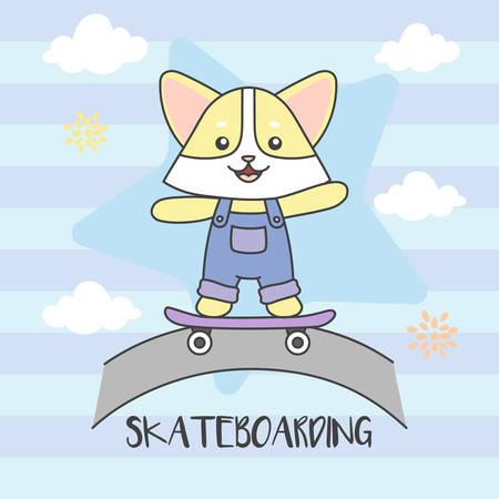Cat playing Skate board. Road, Cloud vector illustration. Ilustração