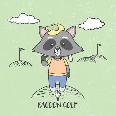 Cute Raccoons Playing Golf. Vector Illustration, ready for T-Shirt.